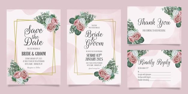 먼지가 수채화 꽃 프레임 장식으로 설정 우아한 결혼식 초대장 템플릿