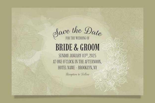 꽃 잎으로 우아한 결혼식 초대장 서식 파일 설정