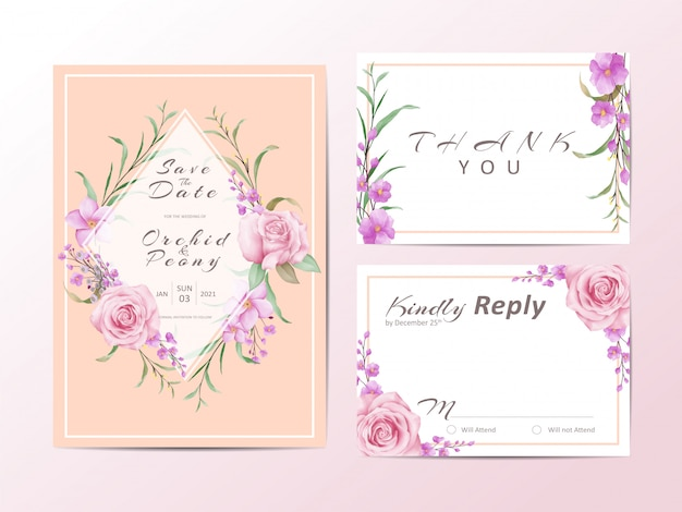 Elegant wedding invitation template set with roses and wild leaves
