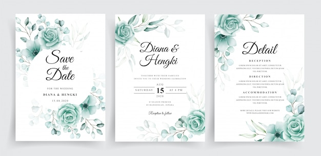 Elegant wedding invitation template set with watercolor eucalyptus