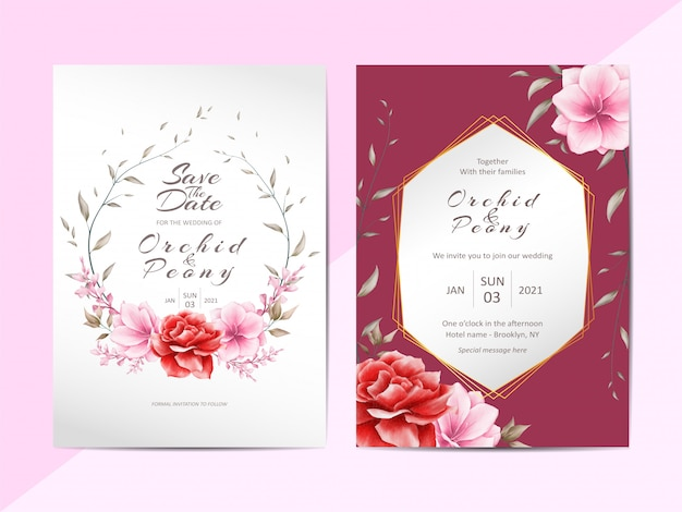 Elegant wedding invitation template set with watercolor floral