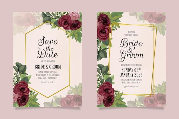 우아한 결혼식 초대장 템플릿 수채화 스타일로 설정합니다.