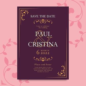 Elegant wedding invitation template style