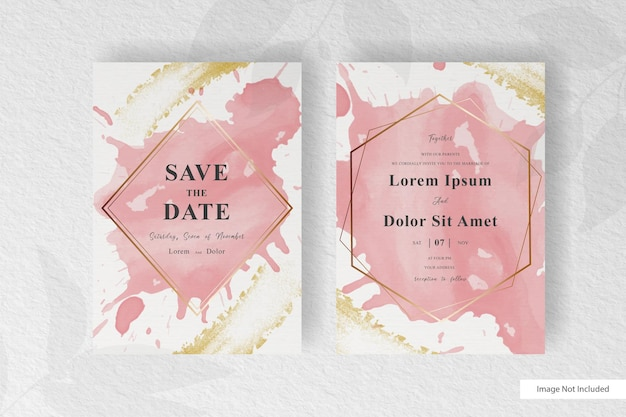 Elegant wedding invitation template with abstract fluid splash