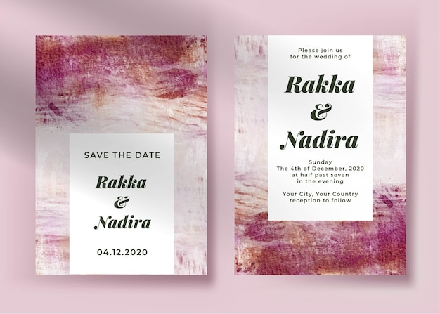 Elegant wedding invitation template with abstract painting pink