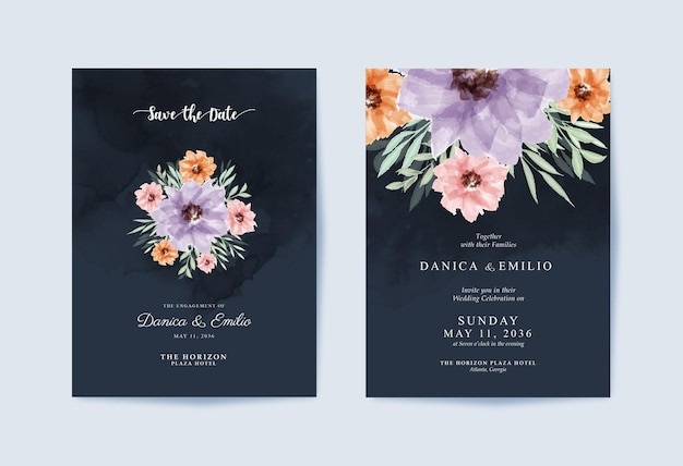 Элегантный шаблон свадебного приглашения с красивым цветочным букетом