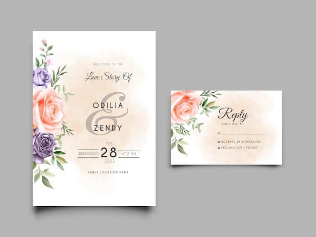 美しい花柄のエレガントな結婚式の招待状のテンプレート