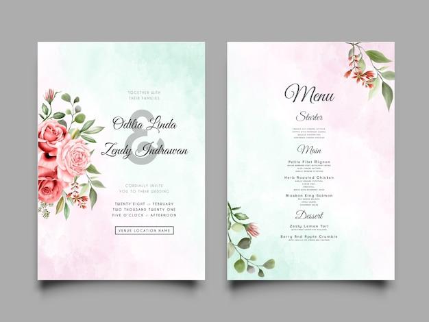 Элегантный шаблон свадебного приглашения с красивым цветочным дизайном