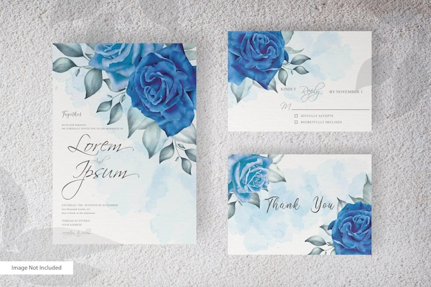 Elegant wedding invitation template with beautiful floral and leaves arrangement