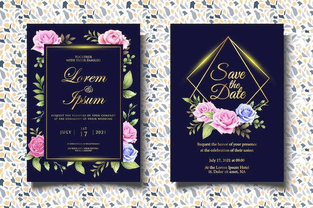 美しい花の葉とエレガントな結婚式の招待状のテンプレート