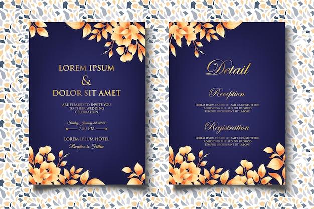 아름 다운 꽃 잎 우아한 결혼식 초대장 서식 파일