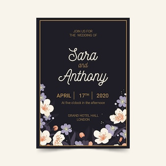 Elegant wedding invitation template with couple's names