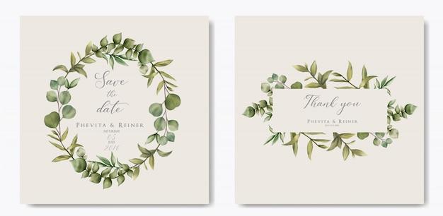 ユーカリの葉を持つエレガントな結婚式の招待状のテンプレート