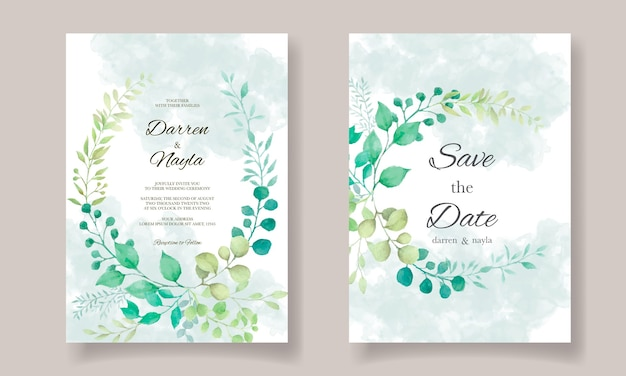 Elegant wedding invitation template with floral decoration
