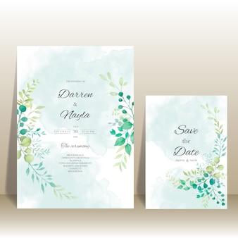 花の装飾が施されたエレガントな結婚式の招待状のテンプレート