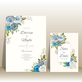꽃 장식으로 우아한 결혼식 초대장 서식 파일