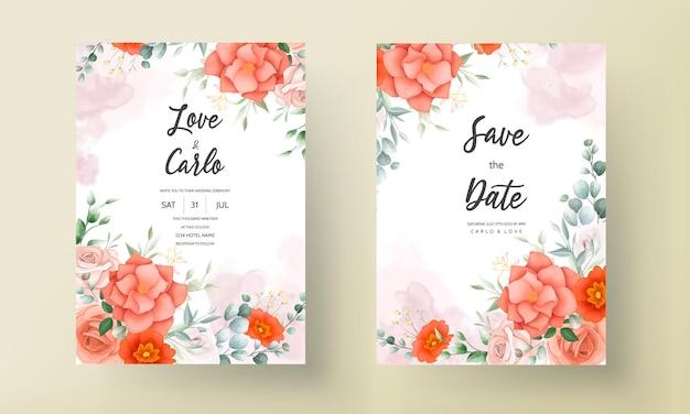 Элегантный шаблон свадебного приглашения с цветочным декором