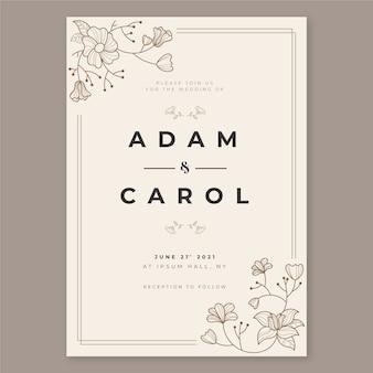 Elegant wedding invitation template with flowers