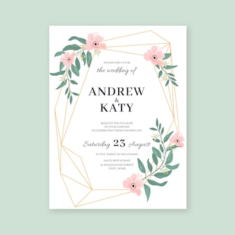 Elegant wedding invitation template with flowers