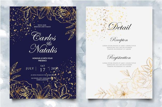 Элегантный шаблон свадебного приглашения с золотым цветочным декором