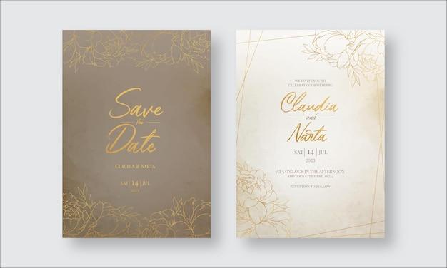 Элегантный шаблон свадебного приглашения с золотым цветком