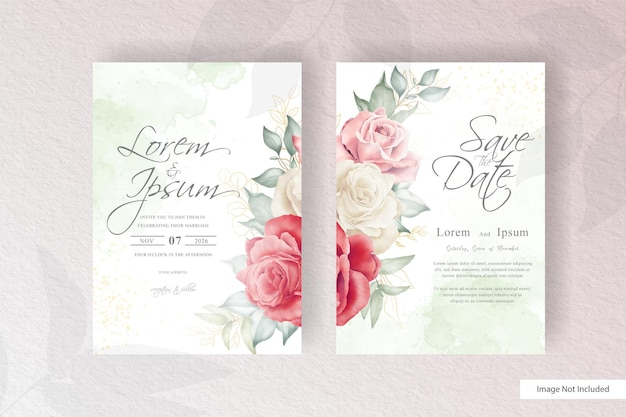 Elegant wedding invitation template with hand drawn watercolor floral arrangement