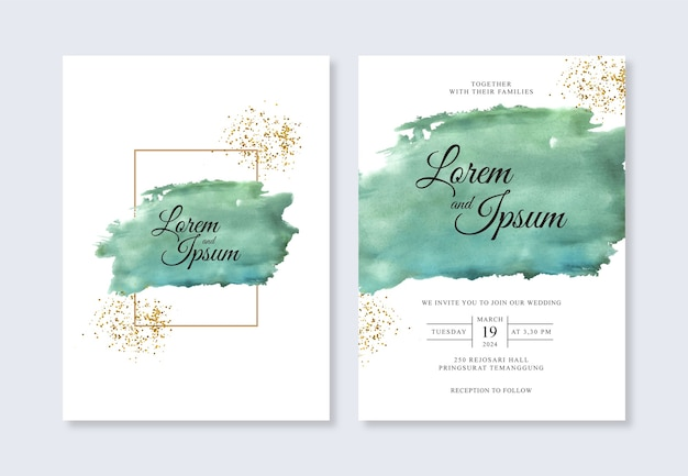 手描きの水彩スプラッシュとエレガントな結婚式の招待状のテンプレート