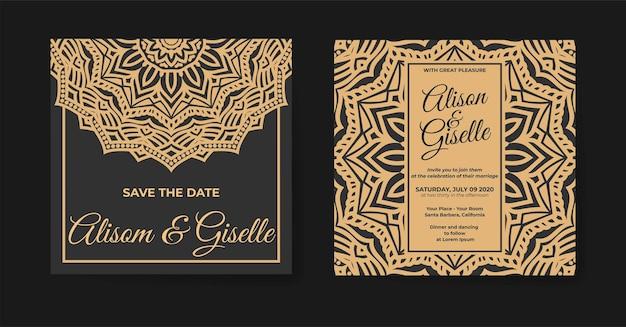 曼荼羅のデザインの飾りとエレガントな結婚式の招待状のテンプレート
