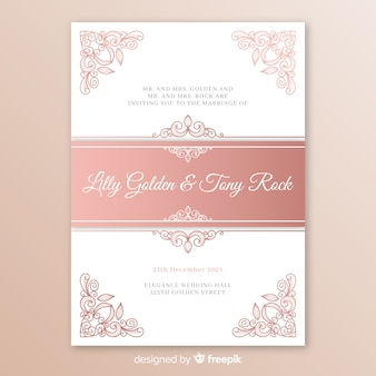 Elegant wedding invitation template with mandala