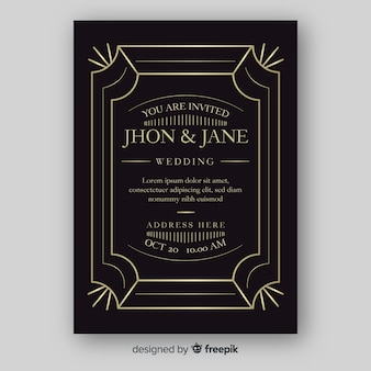 Elegant wedding invitation template with ornaments