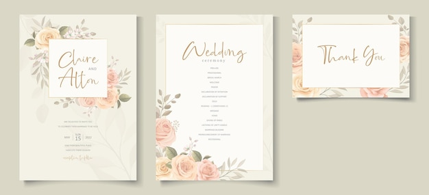 Elegant wedding invitation template with peach color floral theme