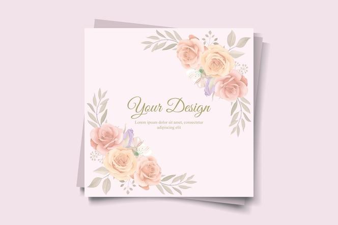 elegante modello di invito a nozze con tema floreale color pesca