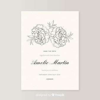 모란 꽃과 우아한 결혼식 초대장 템플릿