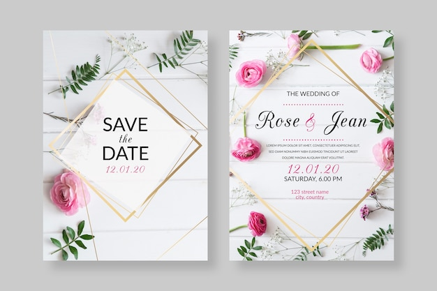 Elegant wedding invitation template with photo