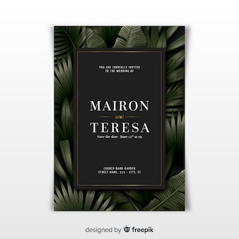 Elegant wedding invitation template with tropical leaves