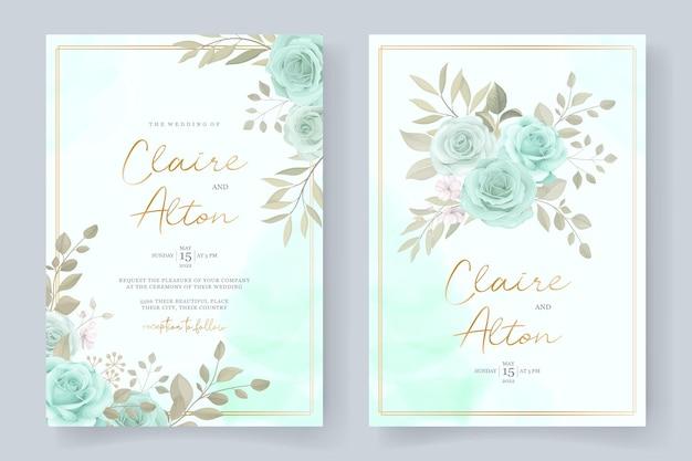 ターコイズ色の花飾りとエレガントな結婚式の招待状のテンプレート