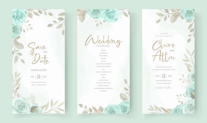 modello di invito matrimonio elegante con ornamento floreale di colore turchese