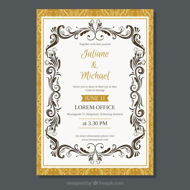 Free Elegant wedding invitation template with vintage style SVG DXF