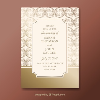 Elegant wedding invitation template with vintage style