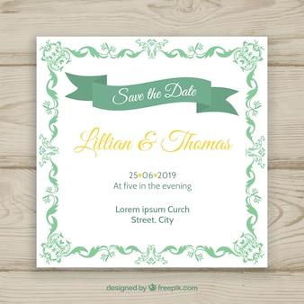 Elegant wedding invitation template with vintage style