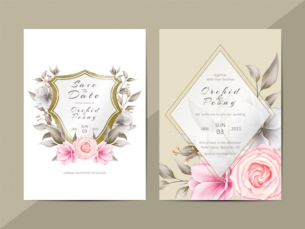 Elegant wedding invitation template with watercolor floral and crest