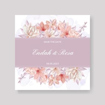 水彩花と葉のフレームとエレガントな結婚式の招待状のテンプレート