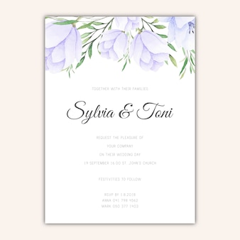 Elegant wedding invitation template with watercolor flowers