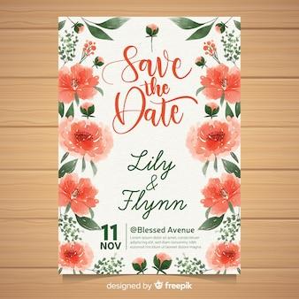Elegant wedding invitation template with watercolor peony flowers