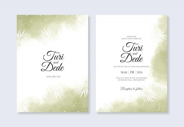 水彩スプラッシュとエレガントな結婚式の招待状のテンプレート