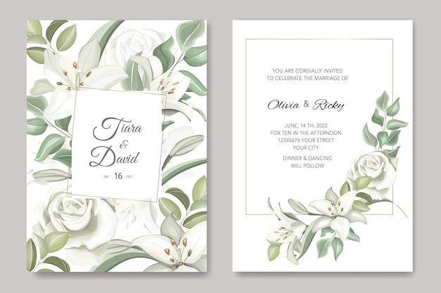 エレガントな結婚式の招待状の白い花のテンプレート
