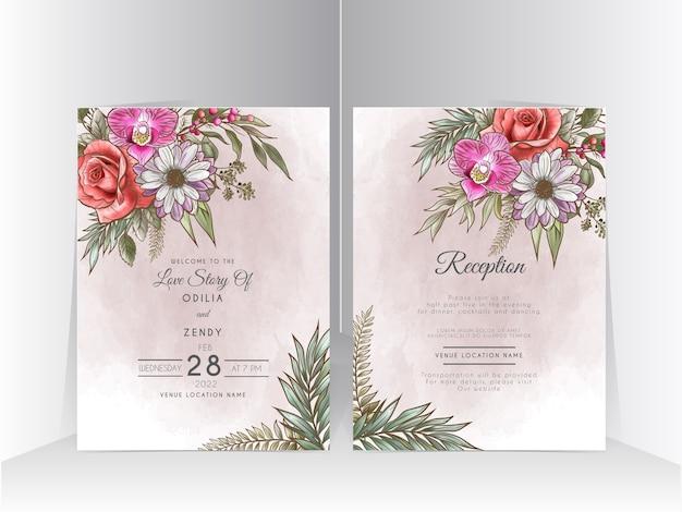 美しい花のイラストとエレガントな結婚式の招待状