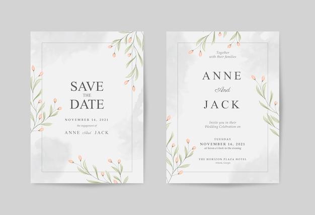 Элегантное свадебное приглашение с красивой цветочной акварелью