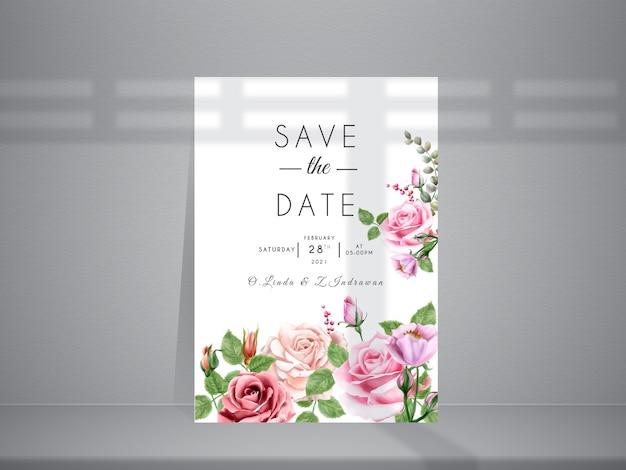 美しいピンクと赤のバラのイラストとエレガントな結婚式の招待状
