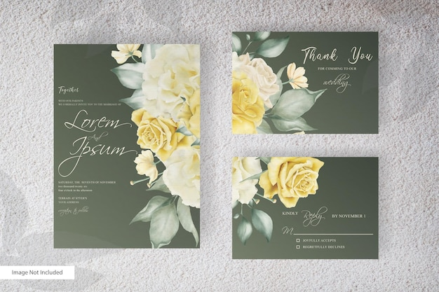 Elegant wedding invitation with beautiful watercolor flower and leaves arrangement